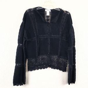 Gantos leather embroidered jacket